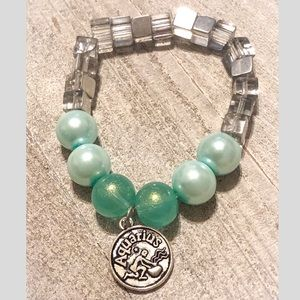 Aquarius Zodiac Beaded Charm Bracelet